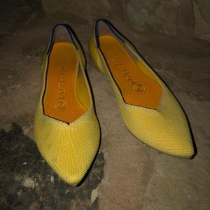 Rothy's Sunshine Yellow The Point Flats 7 **Flaws